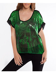 Green Sequin Face Top by alight