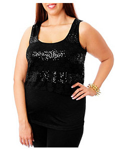 Black Sequin Tank by alight