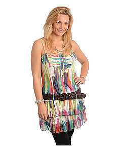 Green Belted Tiered Top by alight