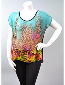 Sheer Animal Print Top by alight