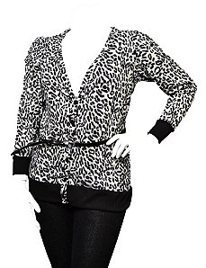 Cheetah Print Belted Top by alight