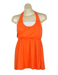 Orange Hello Halter Dress by Extra Touch