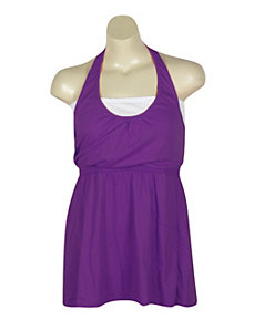 Purple Hello Halter Dress by Extra Touch