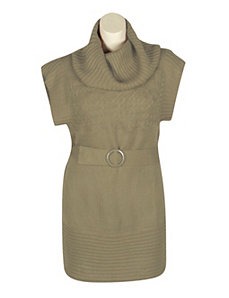 Tan Belt Sweater Dress by Extra Touch