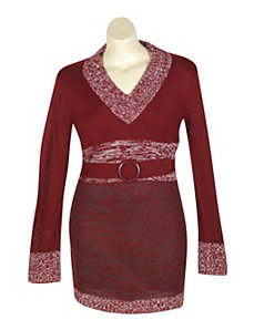 Red Tunic Sweater by Extra Touch