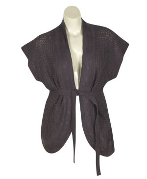 Grey Belted Cardigan