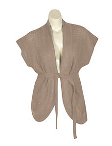 Tan Belted Cardigan by Extra Touch