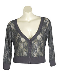 Grey Lace Cardigan by Extra Touch