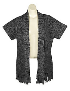 Black Cable Sweater Cardigan by Extra Touch