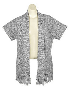 Grey Cable Sweater Cardigan by Extra Touch