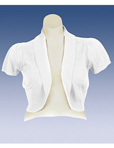 White Shawl Collar Shrug by Extra Touch