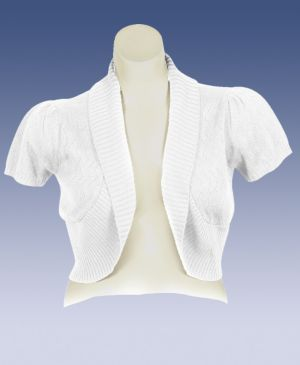 White Shawl Collar Shrug