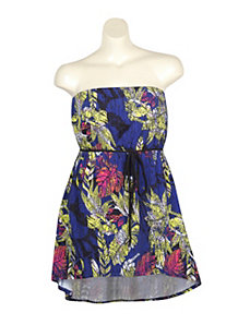 Blue Tube Floral Dress by Extra Touch