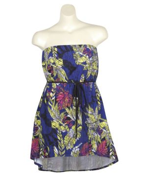 Blue Tube Floral Dress