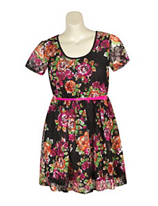 Black Lace Floral Dress by Extra Touch