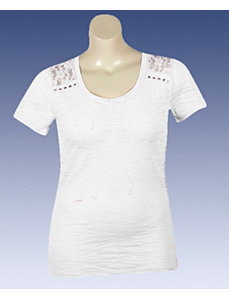 White Zebra Lace Top by Extra Touch