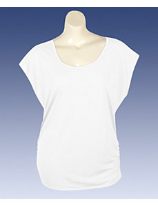 White Zipper Back Top by Extra Touch