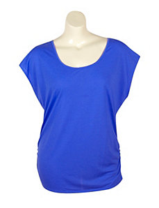 Blue Zipper Back Top by Extra Touch