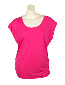 Fuchsia Zipper Back Top by Extra Touch