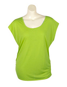 Lime Zipper Back Top by Extra Touch