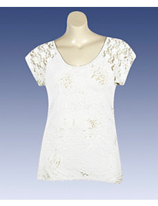White Hi Low Lace Trim Top by Extra Touch