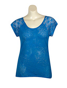 Blue Hi Low Lace Trim Top by Extra Touch