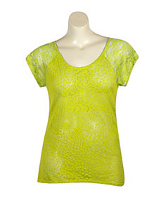 Lime Hi Low Lace Trim Top by Extra Touch
