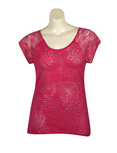 Fuchsia Hi Low Lace Trim Top by Extra Touch