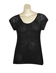 Black Hi Low Lace Trim Top by Extra Touch