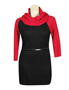 Textured Cowl Neck Dress by Extra Touch