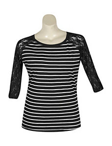 Stripe Top With Lace Sleeves by Extra Touch