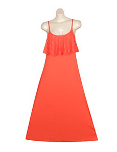 Crochet Flounce Maxi Dress by Extra Touch