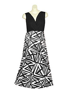 Black Geometric Maxi Dress by Extra Touch