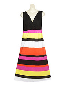 Coral Stripe Maxi Dress by Extra Touch