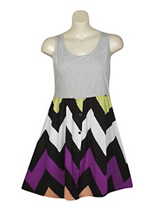 Chevron Print Dress by Extra Touch