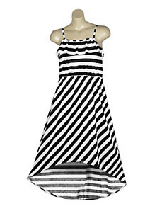 Diagonal Stripe Hi Low Dress by Extra Touch