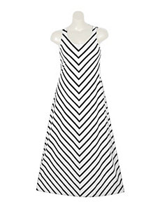 White Stripe Maxi Dress by Extra Touch