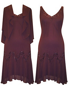 Aubergine All Night Dress by Alex Evenings