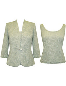 Sage Jacquard Knit Twin Set by Alex Evenings