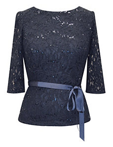 Navy Lace Blouse by Alex Evenings