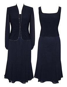 Navy Nation Evening Dress Set by Alex Evenings