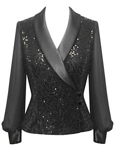 Black Metallic Knit Blouse by Alex Evenings