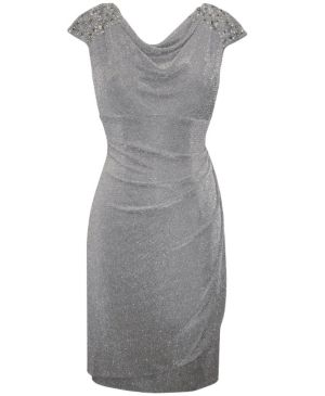 Silver Metallic Knit Dress