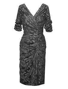 Black Metallic Knit Dress by Alex Evenings