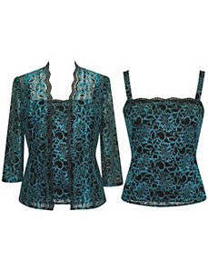Teal Lace Twin Set by Alex Evenings