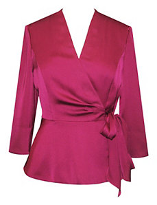 Fuchsia Satin Blouse by Alex Evenings