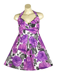 Purple Floral Halter Dress by Ruby Rox