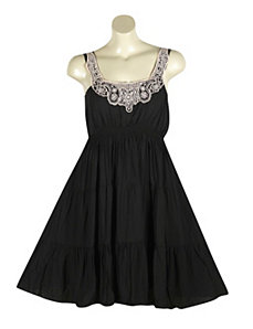 Black Jewel Neck Dress by Ruby Rox