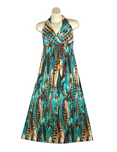 Teal Halter Maxi Dress by Ruby Rox