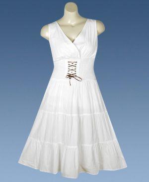 White Lace Up Maxi Dress